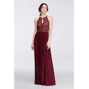 Morgan & Co Lace Keyhole Tie Back Halter Dress